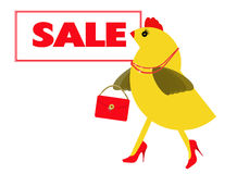Spring chicken goes to the sales, shopping Royalty Free Stock Images