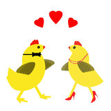 Spring chicken in love - heels, hearts and Valentine. Spring chickens finding love later in life. Senior romance concept Royalty Free Stock Photo