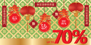 Spring Chinese sale hang banner Royalty Free Stock Photos