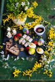 Spring and Christmas table with traditional dishes Stock Photography