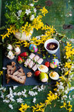 Spring and Christmas table with traditional dishes Stock Photos