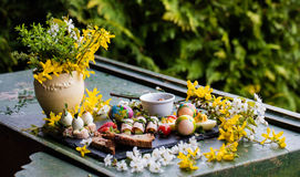 Spring and Christmas table with traditional dishes Stock Photo