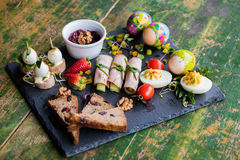 Spring and Christmas table with traditional dishes Royalty Free Stock Photo