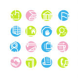 Spring circle building icons Stock Photo