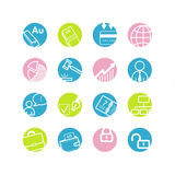 Spring circle business icons Stock Image