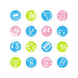 Spring circle finance icons. Vector web icons, spring circle buttons series, crop symbols Royalty Free Stock Images