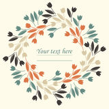 Spring circle frame with decorative tulips Stock Photography