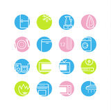 Spring circle household appliances icons vector illustration