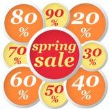 Spring circle labels discount orange Royalty Free Stock Photos