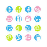 Spring circle media icons royalty free illustration