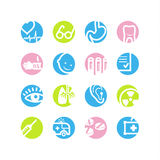 Spring circle medicine icons. Vector web icons, spring circle buttons series, crop symbols Royalty Free Stock Photography