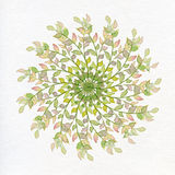 Spring circle of plants on a white background watercolor Stock Photos
