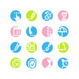 Spring circle software icons. Vector web icons, spring circle buttons series, crop symbols Stock Photography
