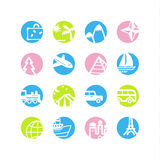 Spring circle travel icons Royalty Free Stock Image
