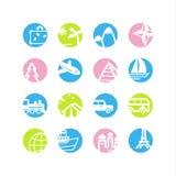 Spring circle travel icons Royalty Free Stock Image