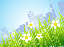 Spring in the city, flowers. Vector illustration