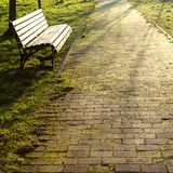 Spring in the city park, wooden brown bench in the rays of sunlight stock image