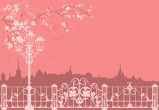 Spring city scene Royalty Free Stock Image