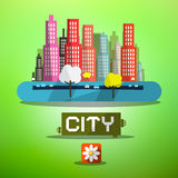 Spring City Vector Royalty Free Stock Photography