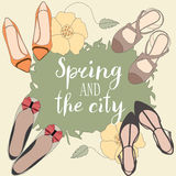Spring and the city vector card Royalty Free Stock Photos
