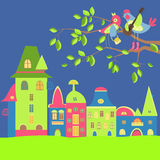 Spring cityscape with birds in love royalty free illustration