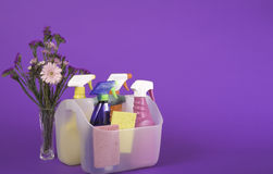 Spring Clean Fresh. Container holding colorful bottle of cleaners for spring cleaning--room for copy Royalty Free Stock Photos