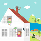 Spring-clean A. Illustration of family gathering for spring cleaning Royalty Free Stock Image