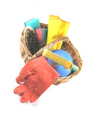 Spring cleaning. Some cleaning materials in a basket royalty free stock photography