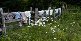 Spring Cleaning. Drying clothes the old fashion way Royalty Free Stock Photo