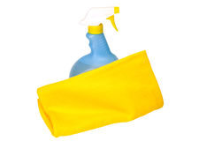 Spring Cleaning. With cleaning solution and towel.  Isolated image on white background with clipping path Stock Image
