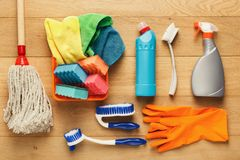 Various cleaning supplies, housekeeping background Royalty Free Stock Photo