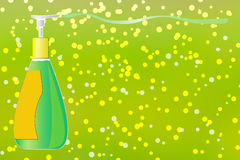 Spring cleaning background. Spring cleaning background with dispenser pump bottle of liquid soap Stock Image