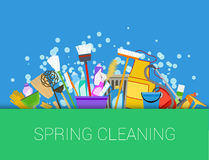 Spring cleaning background. Set of cleaning supplies. Tools of housecleaning. Vector Royalty Free Stock Photos