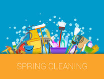 Spring cleaning background. Set of cleaning supplies Royalty Free Stock Photo