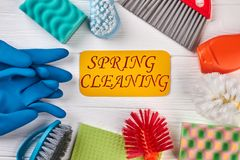 Spring cleaning background with supplies. Stock Images