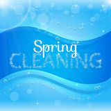 Spring cleaning banner with washing soap foam bubbles. Shiny blue background with sunny waves. Housekeeping and cleaning service design. Flyer with realistic royalty free illustration