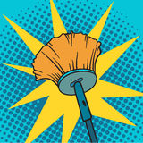Spring cleaning broom pop art background vector illustration. Spring cleaning broom and house spring cleaning broom. Housekeeping spring cleaning broom pop art Stock Photography