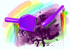 Spring-cleaning. Brush and dustpan on abstract multicolor background Stock Photo