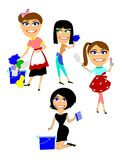 Spring cleaning. Cartoon women characters doing spring cleaning Royalty Free Stock Photography