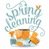 Spring Cleaning cheerful flat design EPS 10 vector Royalty Free Stock Photography