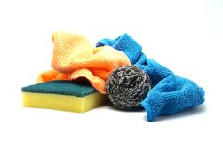 Spring Cleaning Cloths and Scrubbers. Isolated photo of spring cleaning items Stock Images