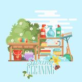 Spring cleaning colorful banner. Cleaning service 24 hours vector illustration in modern flat design. Cleaning service 24 hours vector illustration in modern Royalty Free Stock Images