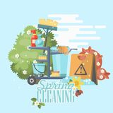 Spring cleaning colorful card. Cleaning service 24 hours vector illustration in modern flat design. Cleaning service 24 hours vector illustration in modern flat Stock Images