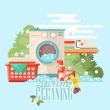 Spring cleaning colorful poster. Cleaning service 24 hours vector illustration in modern flat design. Cleaning service 24 hours vector illustration in modern Stock Image
