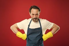 Spring cleaning. Commercial cleaning company concept. domestic helper. Maid or houseman cares about house. Bearded man. General or regular clean up. Housewife stock photography