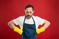 Spring cleaning. Commercial cleaning company concept. domestic helper. Maid or houseman cares about house. Bearded man. General or regular clean up. Housewife stock images