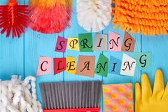 Spring cleaning concept with supplies. Big spring cleaning. Cleaning business concept Royalty Free Stock Images
