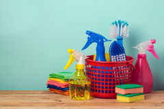 Spring cleaning concept with supplies Royalty Free Stock Photos