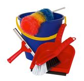 Spring cleaning equipment with bucket, brush and shovel incluided Stock Images