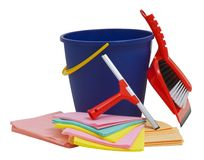 Spring cleaning equipment with squeegee, bucket, brush, shovel and rag Royalty Free Stock Photo